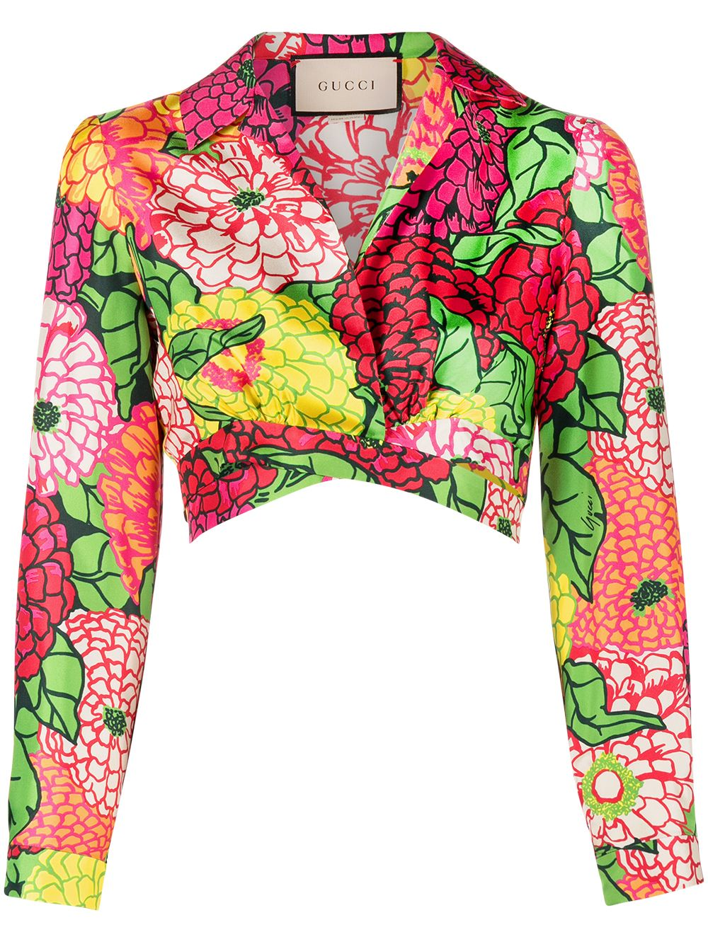 Immagine di Gucci | Ken Scott Print Silk Crop Shirt
