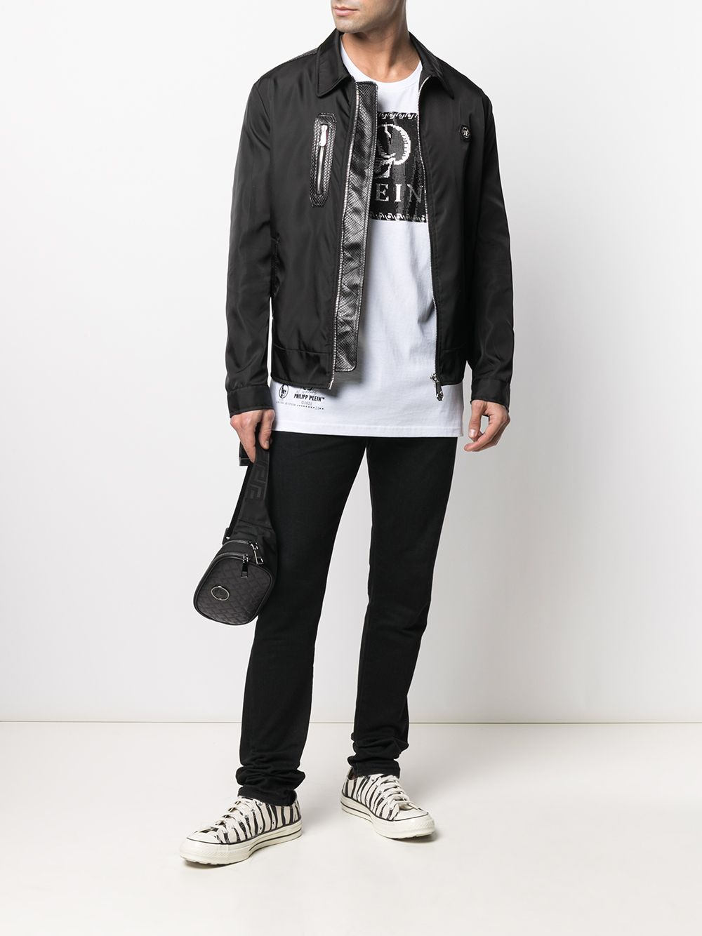 Picture of Philipp Plein | T-Shirt Round Neck Ss Outline Skull Crystal
