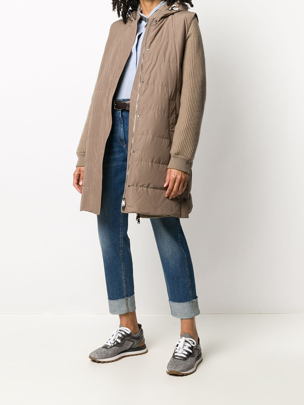 Picture of Brunello Cucinelli | Padded Gilet + Long Cardigan