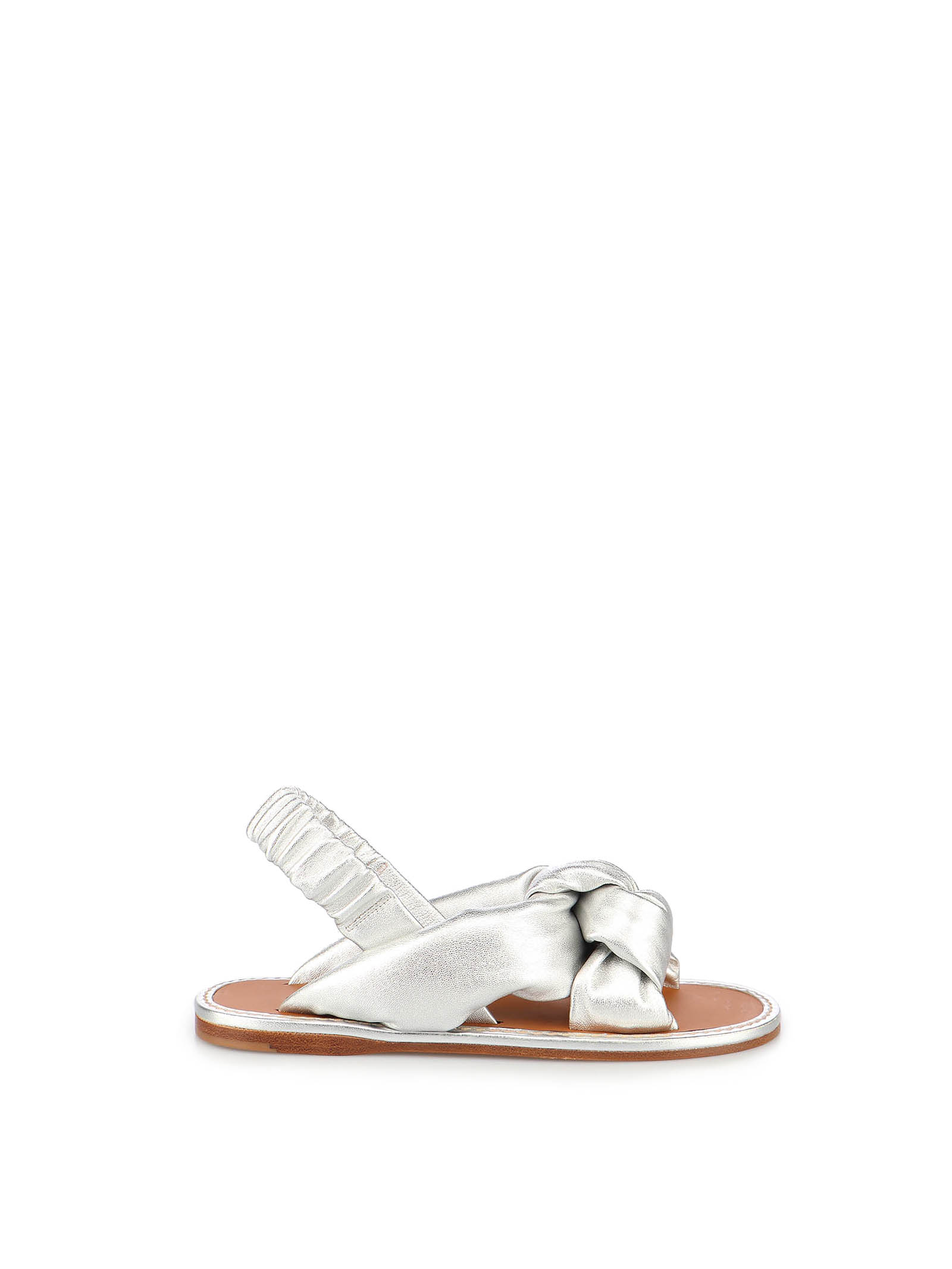 Picture of Miu Miu   Padded Mordoré Nappa Leather Flat Sandals