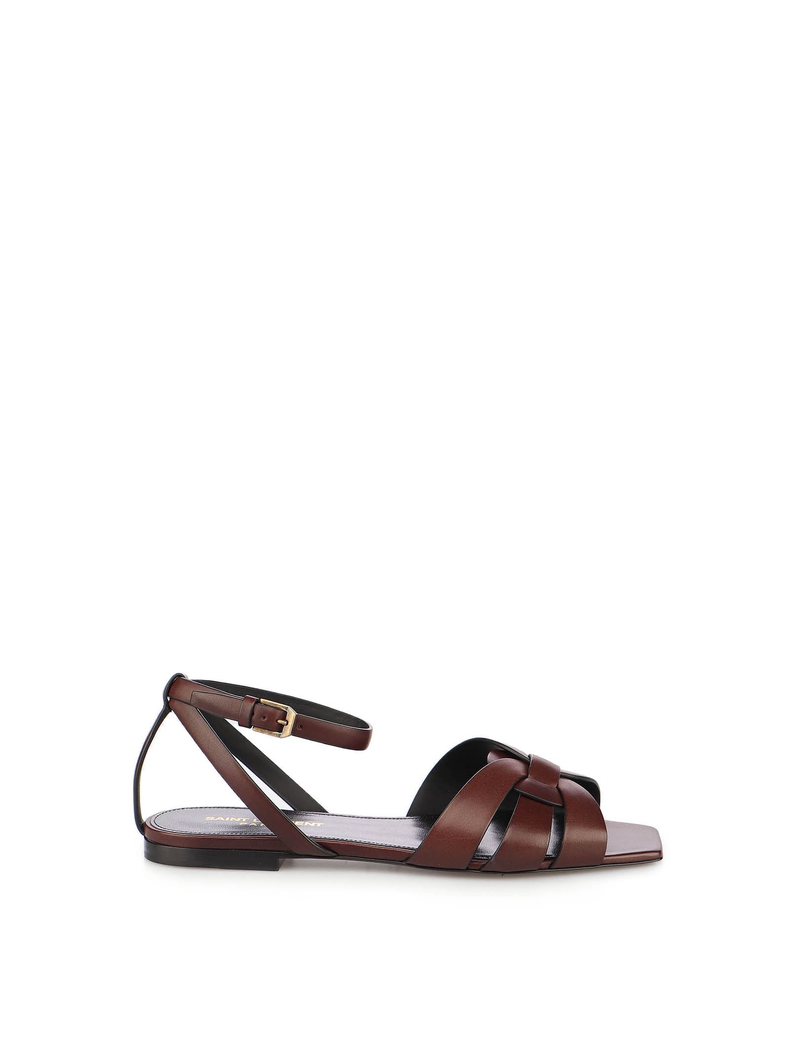 Picture of Saint Laurent | Tribute 05 Ankle Strap Flat Sandals