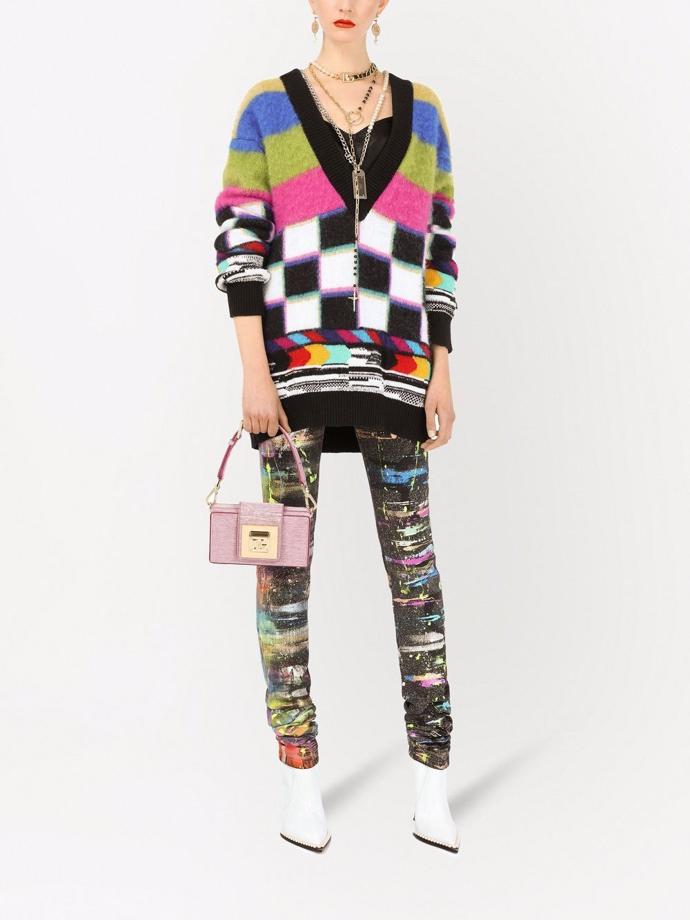 Picture of Dolce & Gabbana   Graphic Print V Neck Sweater