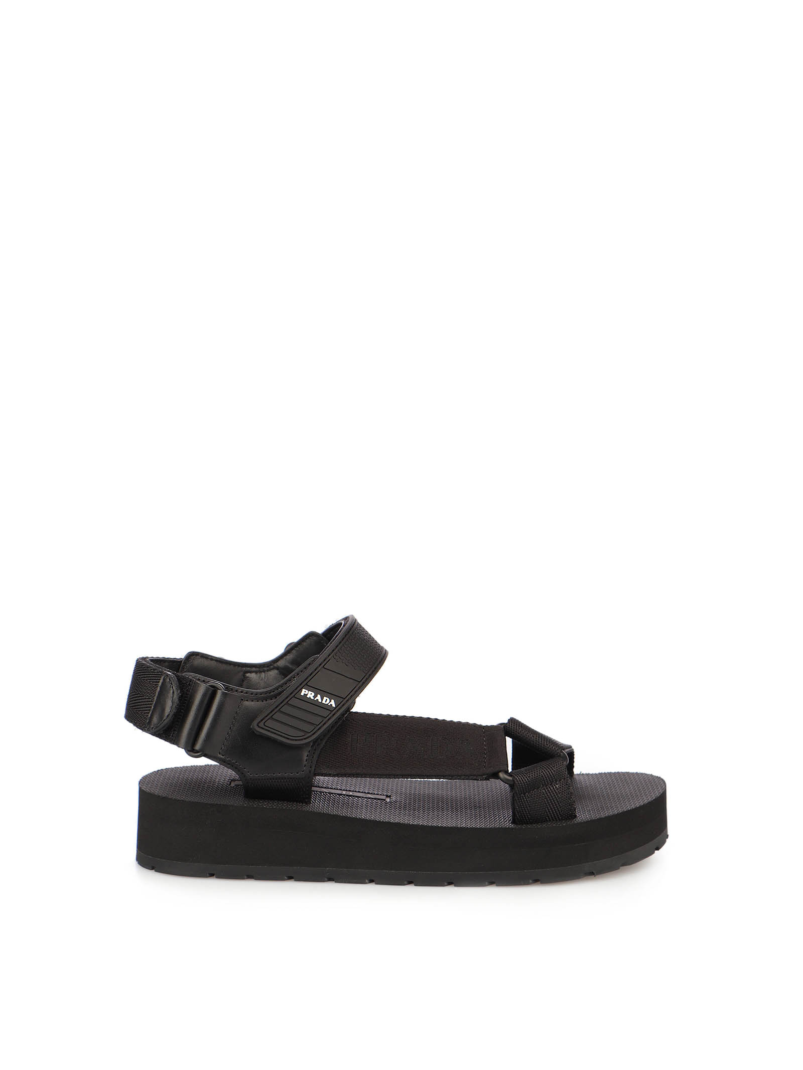 Picture of Prada | Leather And Nylon Sandals