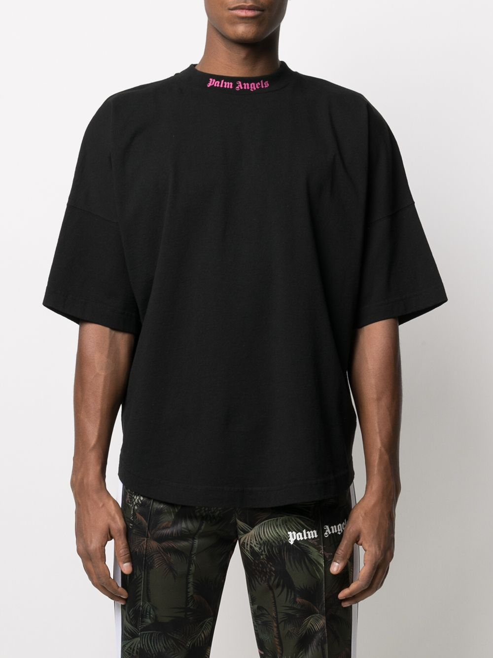 Picture of Palm Angels   Doubled Logo Over Tee