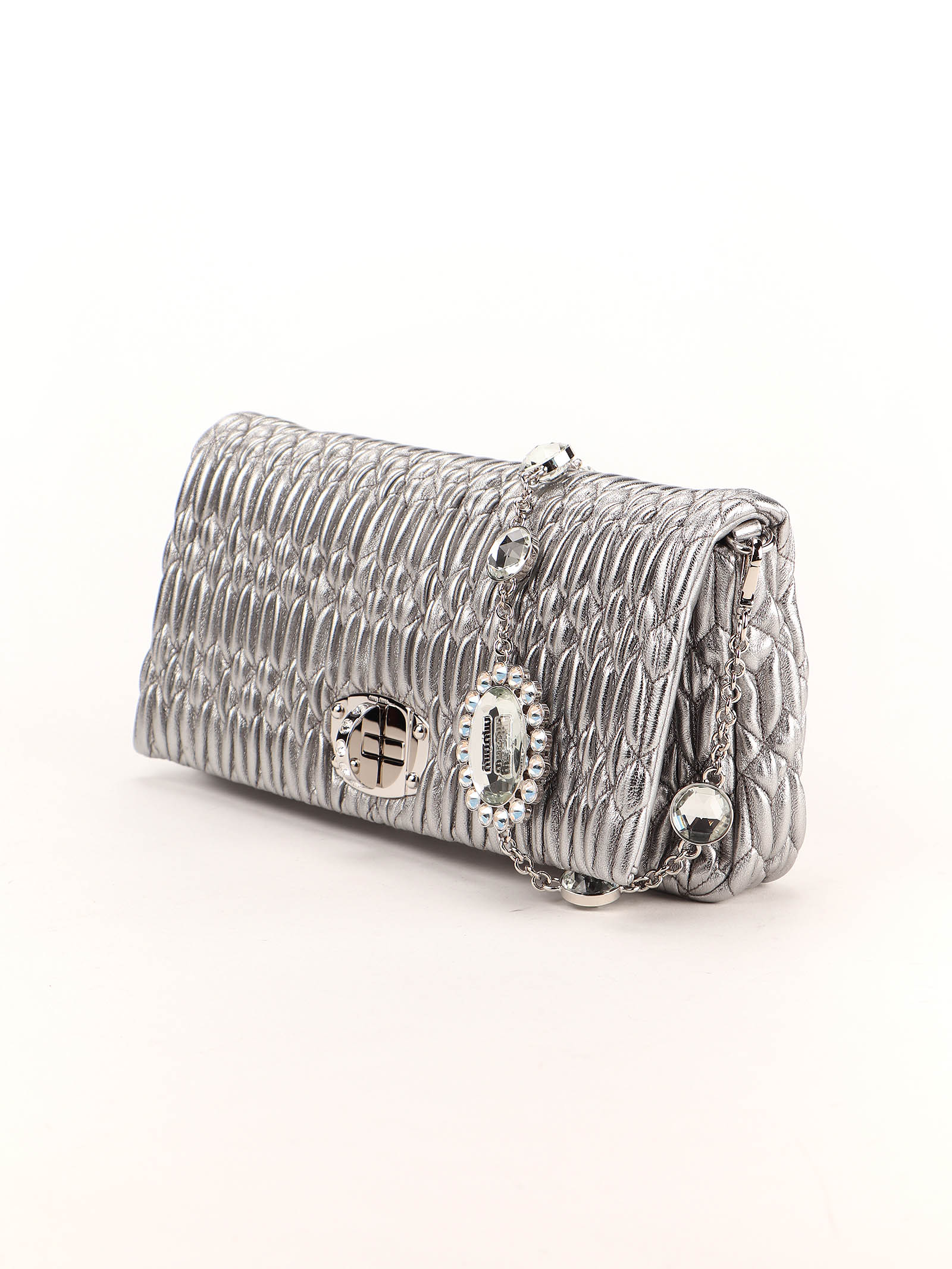 Immagine di Miu Miu | Miu Miu Iconic Crystal Cloqué Nappa Leather Bag