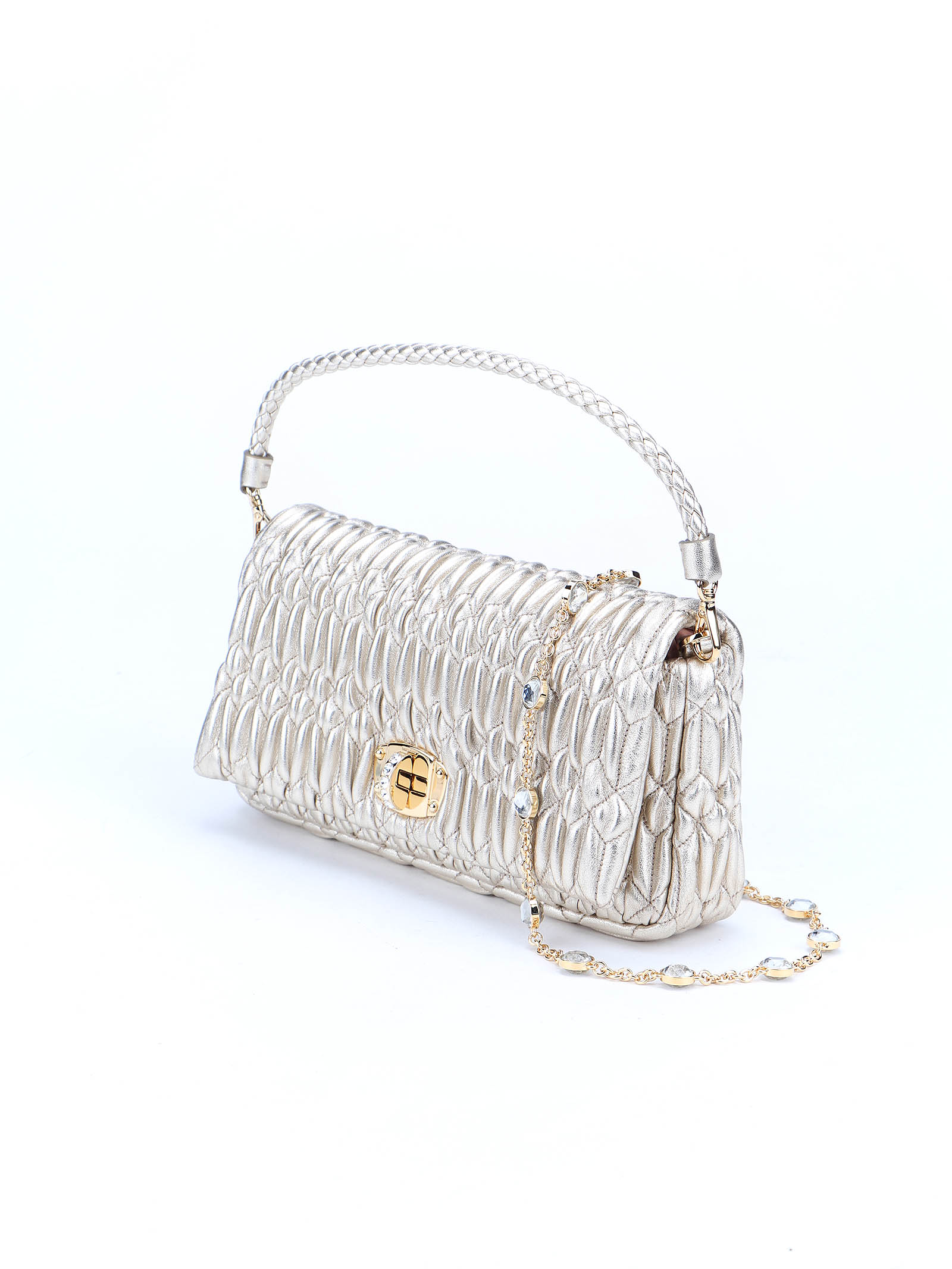Immagine di Miu Miu | Miu Crystal Cloqué Nappa Leather Bag