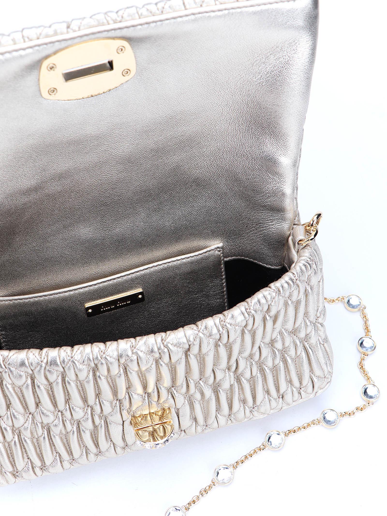 Picture of Miu Miu   Miu Crystal Cloqué Nappa Leather Bag