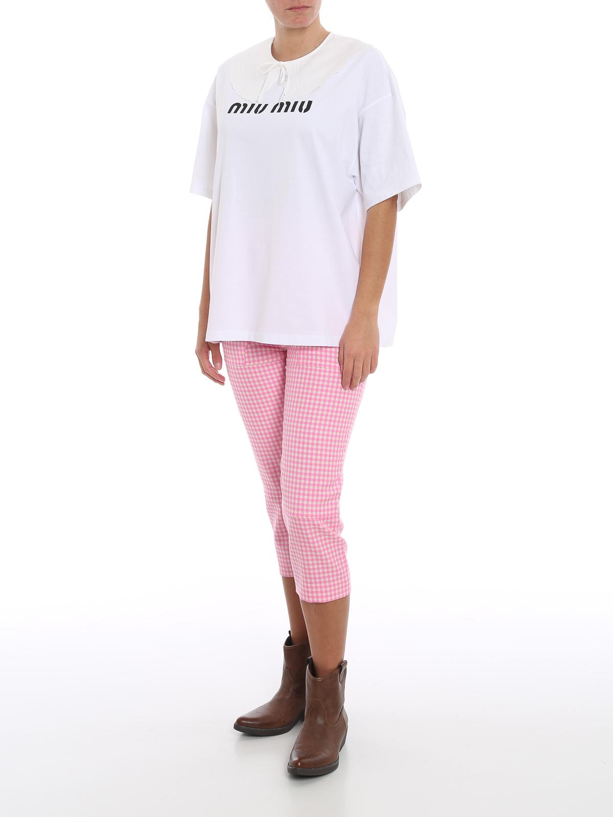 Picture of Miu Miu | Trousers Twill Vichy