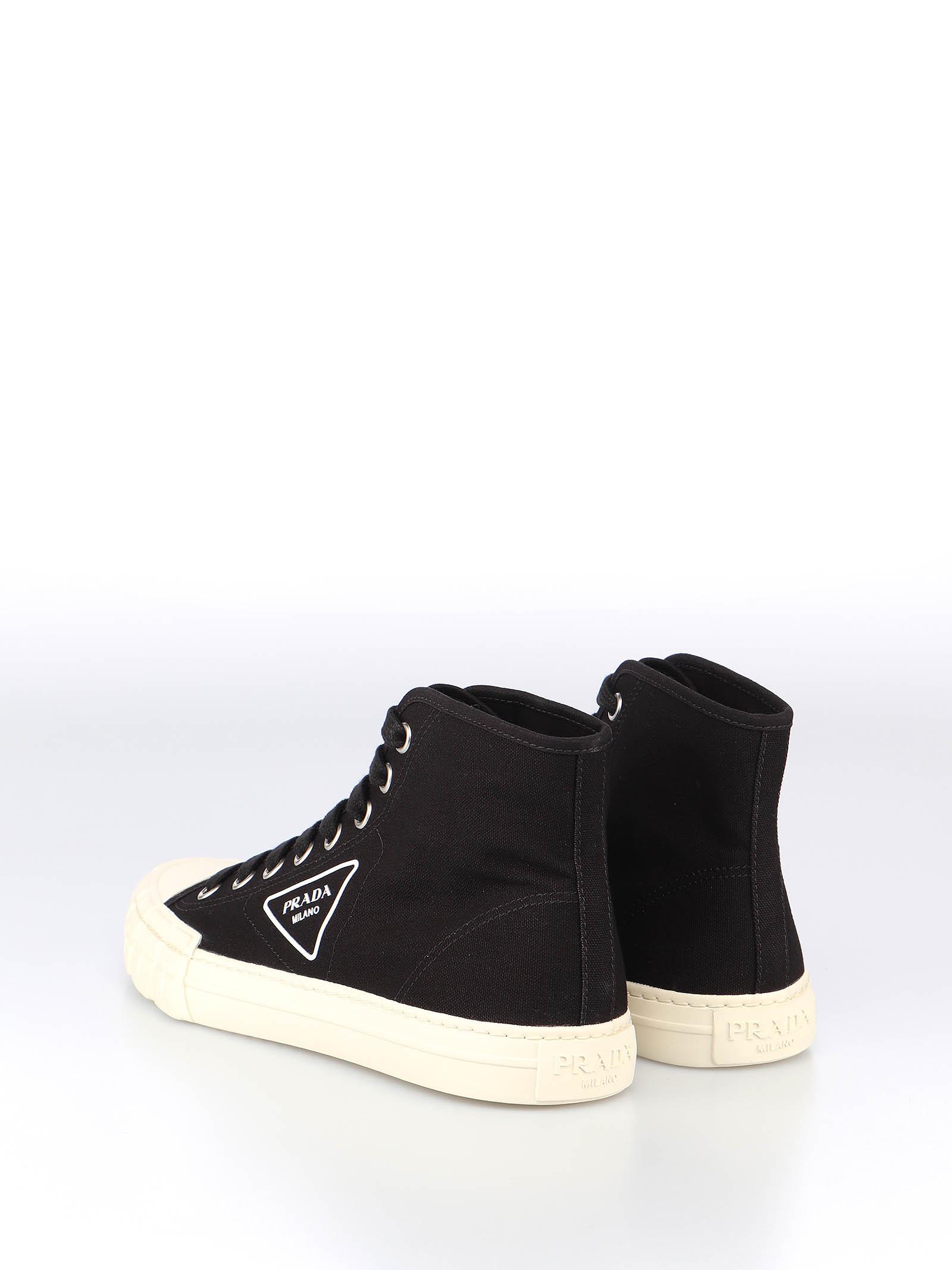 Picture of Prada | Wheel Vulcanizzato Tech Fabric High-Top Sneaker