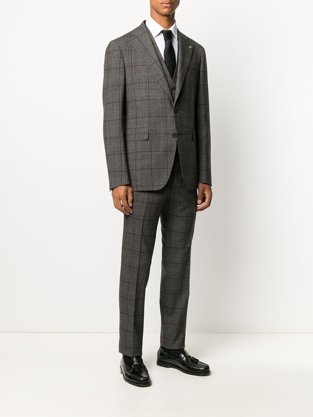 Picture of Tagliatore | Check Suit With Vest