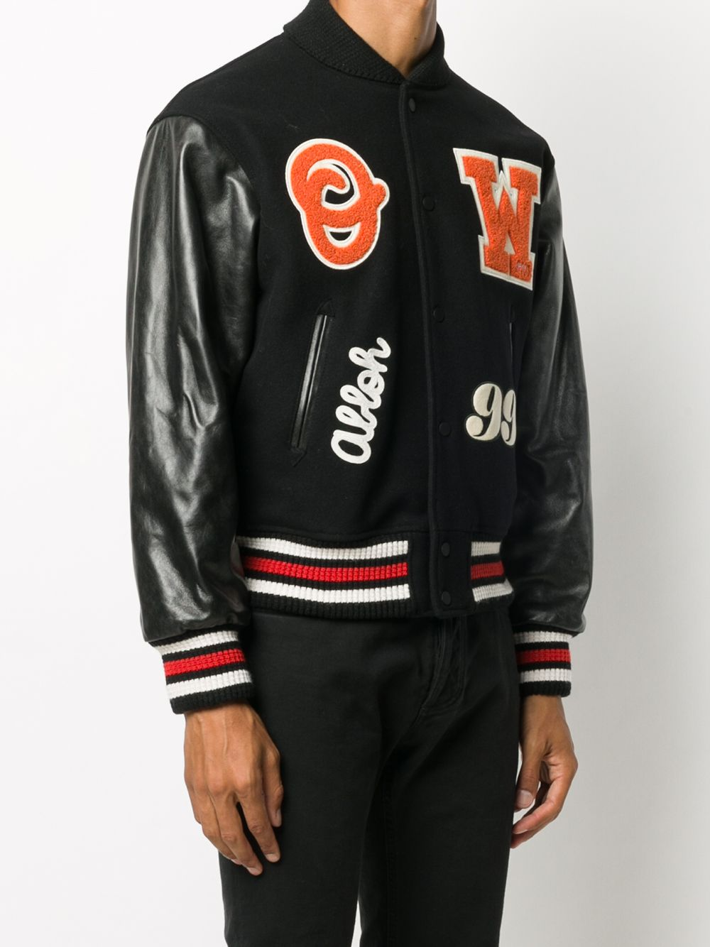 Picture of Off White | Barrel Leather Varsity