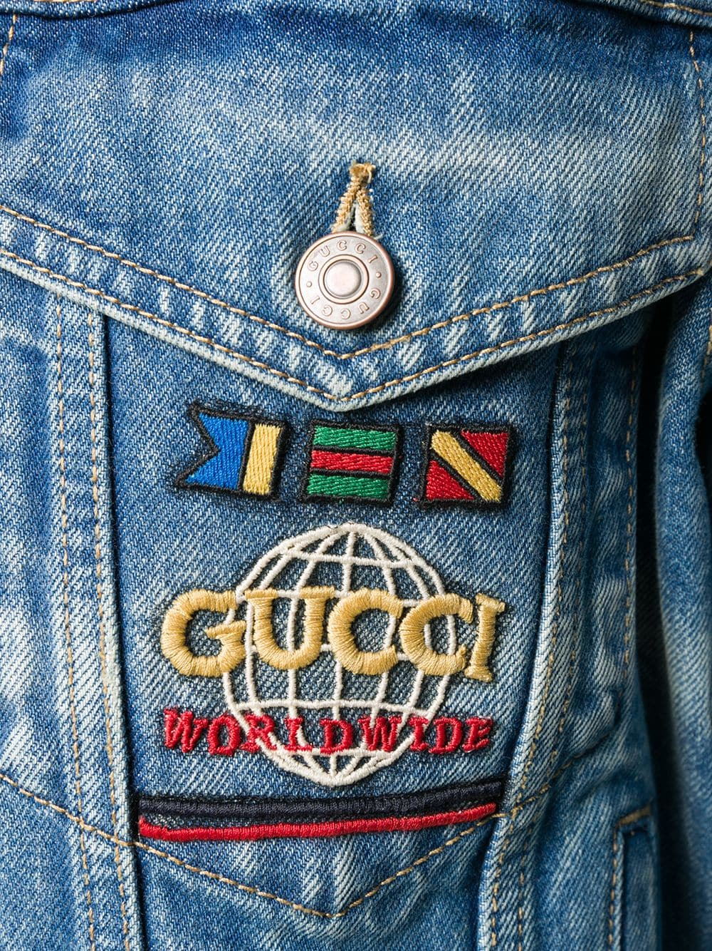Picture of Gucci | Gucci Embroidered  Denim Jacket