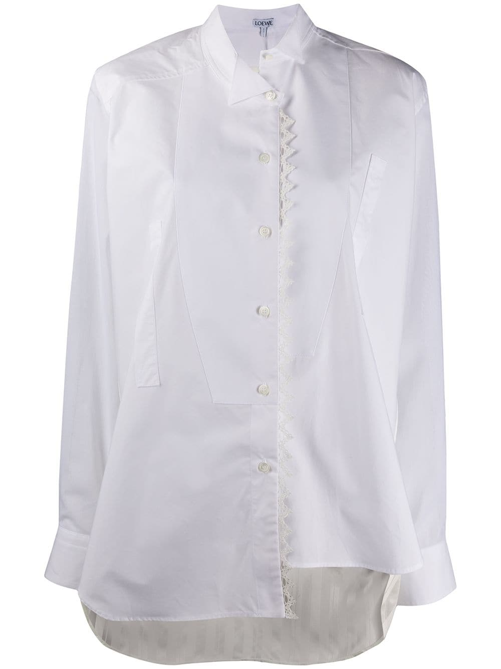 Picture of Loewe   Lace Trim Asymmetric Shirt