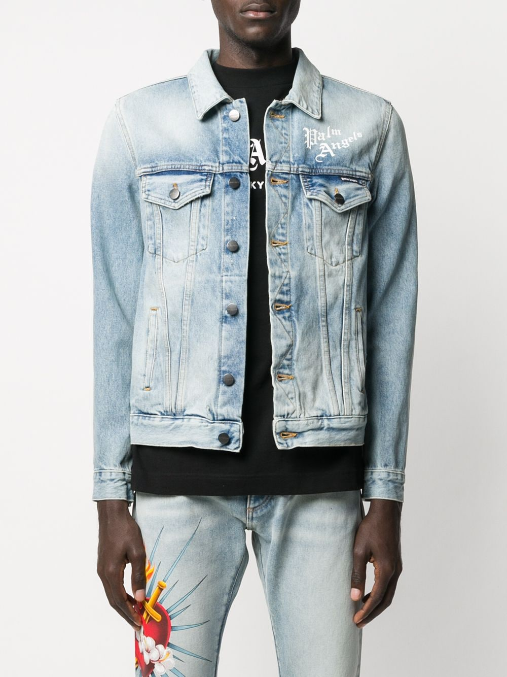 Picture of Palm Angels | Sacred Heart Denim Jkt
