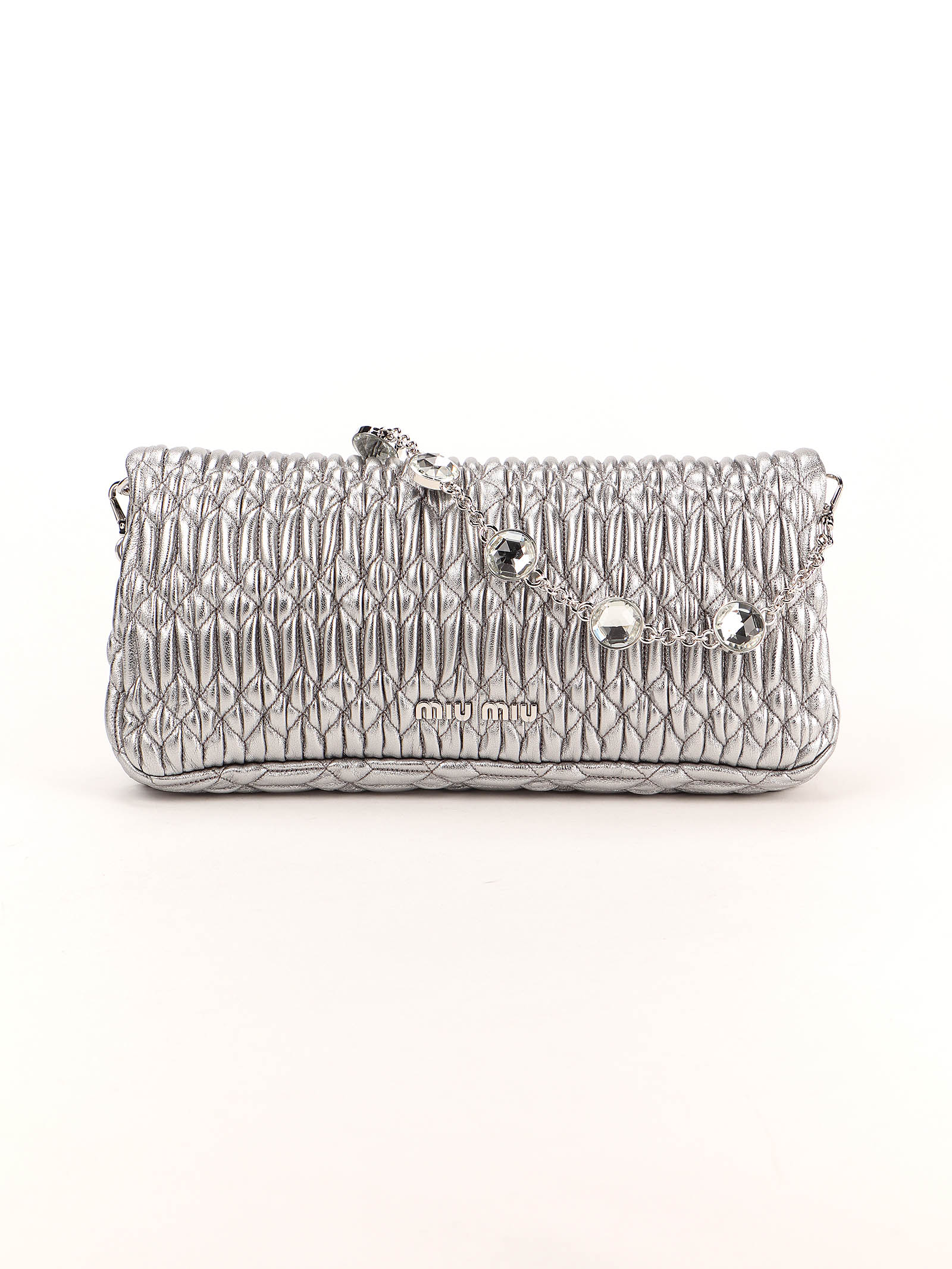 Picture of Miu Miu | Nappa Crystal Shoulder Bag